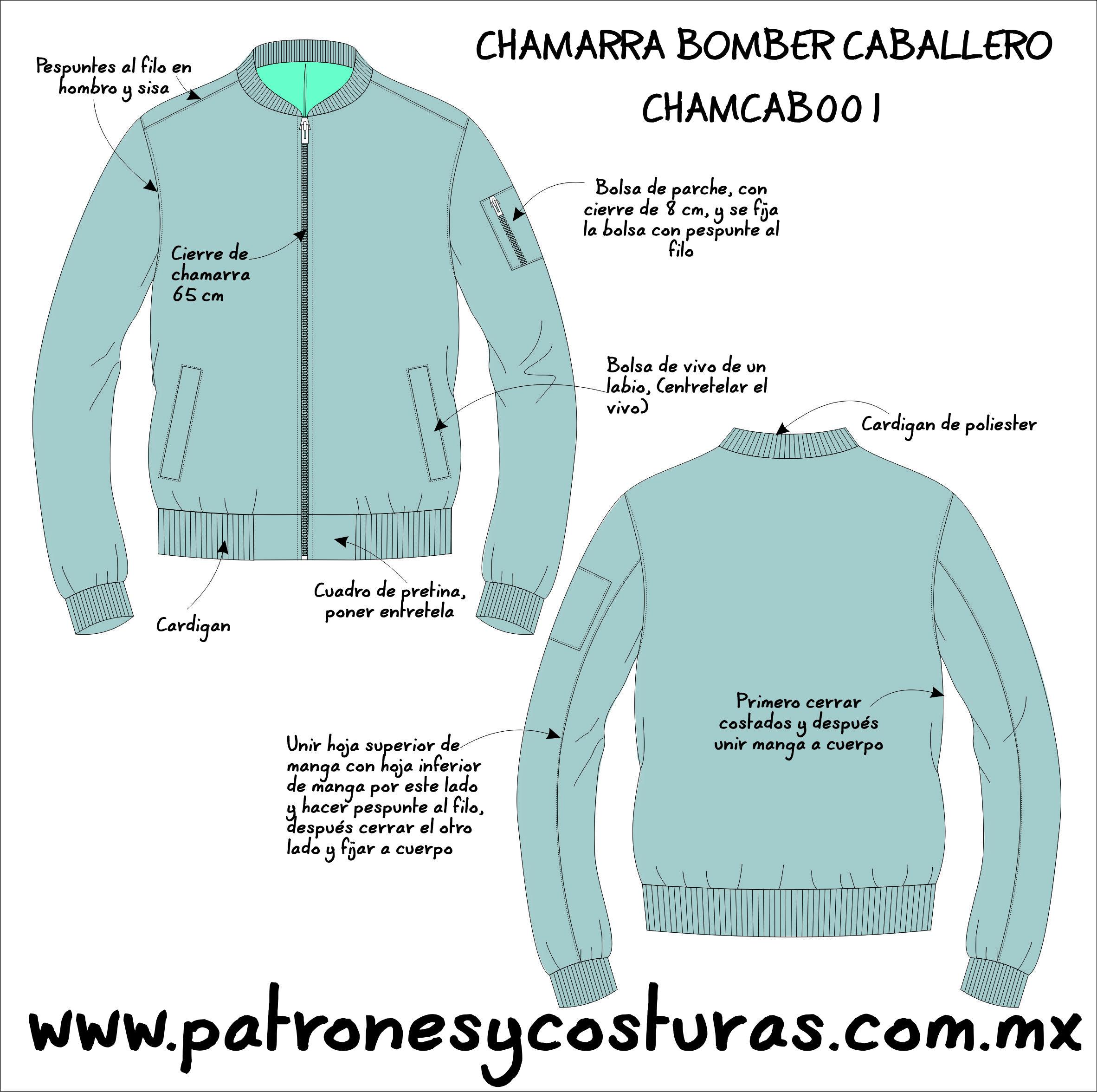 PATRÓN DE CHAMARRA BOMBER CABALLERO