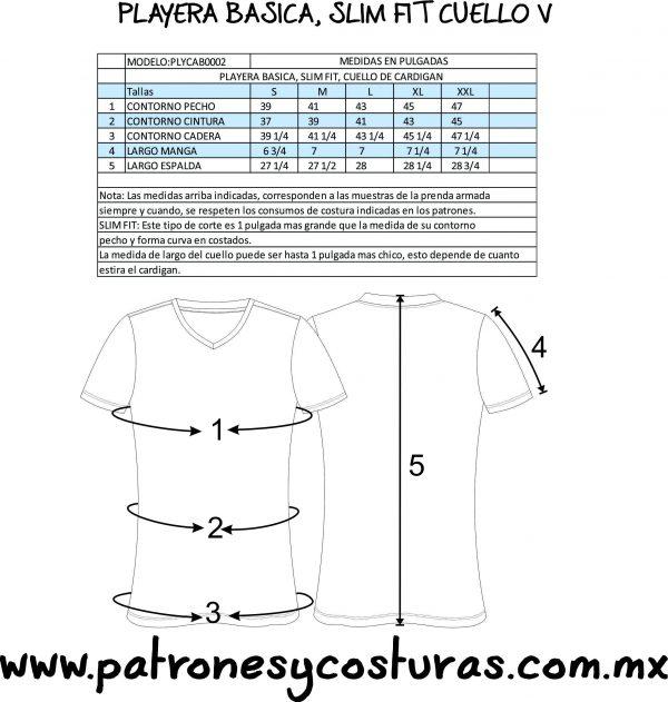 PATRÓN DE PLAYERA SLIM FIT CUELLO V MANGA CORTA - patrones y costuras